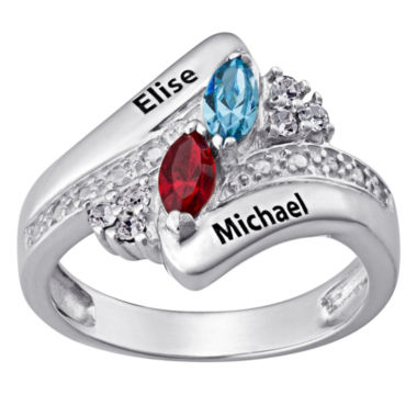 jcpenney.com | Personalized Couple's Name Marquise Birthstone Bypass Ring