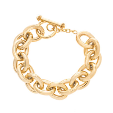 jcpenney.com | Yellow IP Stainless Steel Bold Link Bracelet