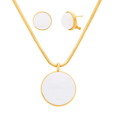 jcpenney.com | Yellow IP Stainless Steel Pearl 2-Pc. Jewelry Set