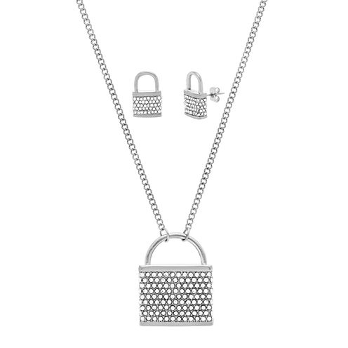 Stainless Steel 2-Pc. Lock Jewelry Set