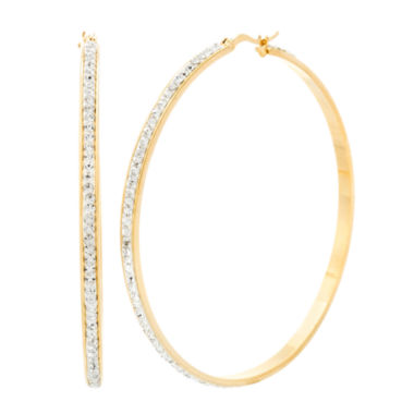 jcpenney.com | Yellow IP Stainless Steel Cubic Zirconia Hoop Earrings