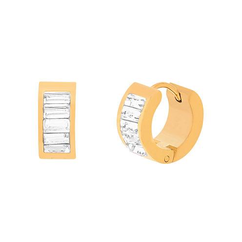 Yellow IP Stainless Steel Cubic Zirconia Huggie Hoop Earrings