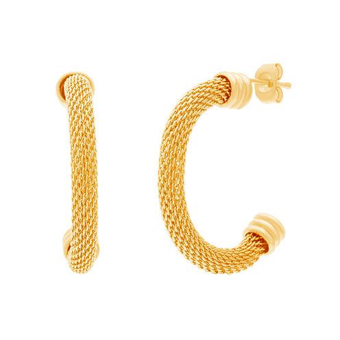 Yellow IP Stainless Steel Snake Chain Half-Hoop Earrings