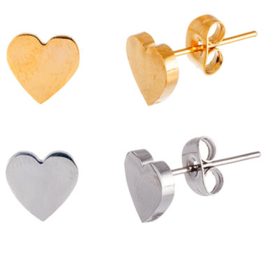 jcpenney.com | Two-Tone IP Stainless Steel 2-Pc. Heart Stud Earring Set
