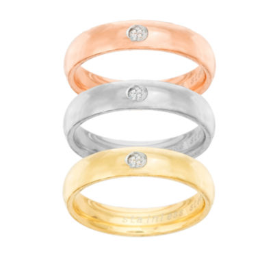 jcpenney.com | Tri-Color Stainless Steel Cubic Zirconia Triple Band Ring