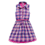 Knit Works® Sleeveless Plaid Chiffon Belted Shirtdress - Girls 7-16
