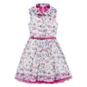 Knit Works® Sleeveless Chiffon Belted Shirtdress - Girls 7-16