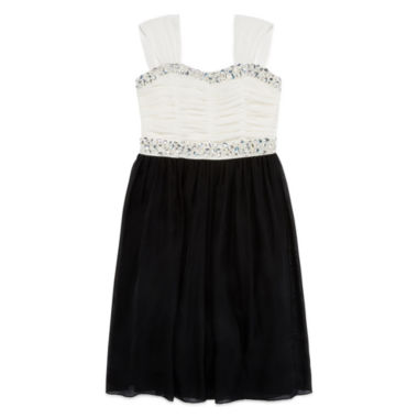 jcpenney.com | Speechless® Sleeveless Ruched Mesh Skater Dress with Jewel Embellishments - Girls 7-16