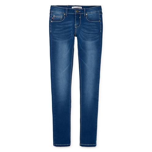V Gold 5-Pocket Embroidered Elephant Skinny Jeans - Girls 7-16