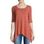 Miss Chevious 3/4-Sleeve Rib Swing Tee