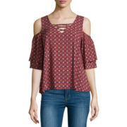 Arizona Short-Sleeve Cold-Shoulder Top - Juniors