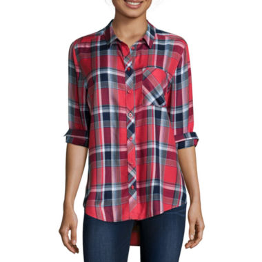 jcpenney.com | Arizona Long-Sleeve Boyfriend Plaid Shirt- Juniors