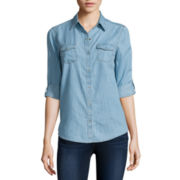 Arizona Long-Sleeve Denim Shirt - Juniors