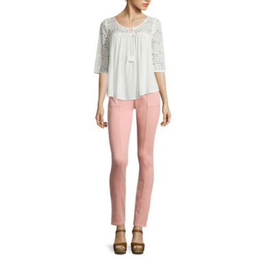 jcpenney.com | Arizona 3/4-Sleeve Crochet Swing Top or Luxe Twill Jeggings
