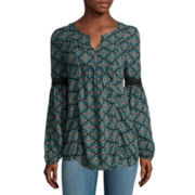 Arizona Long-Sleeve Crochet Detail Blouse - Juniors