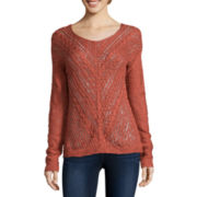 Arizona Long-Sleeve Open-Stitch Sweater - Juniors