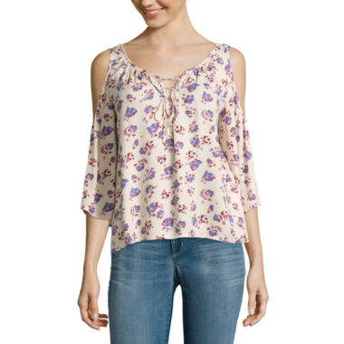 jcpenney.com | Arizona 3/4-Sleeve Cold-Shoulder Top - Juniors