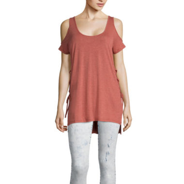jcpenney.com | i jeans by Buffalo Cold-Shoulder Lace-Up Tee