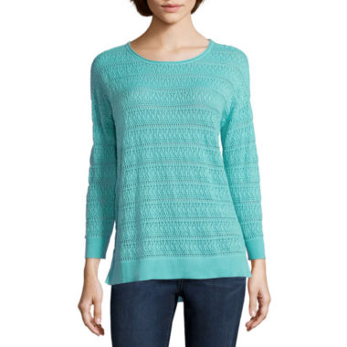 jcpenney.com | St. John's Bay® 3/4-Sleeve Pointelle Sweater - Tall