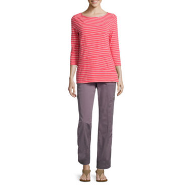 jcpenney.com | St. John's Bay® 3/4-Sleeve Sliced Stripe Tee or Cargo Pants