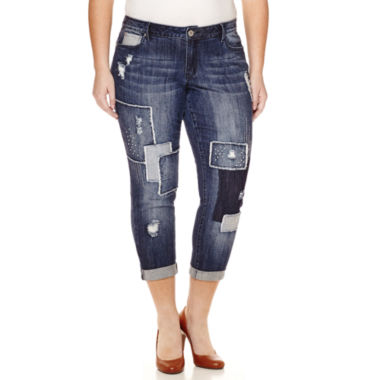 jcpenney.com | Love Indigo Patch Denim Boyfriend Jeans - Plus