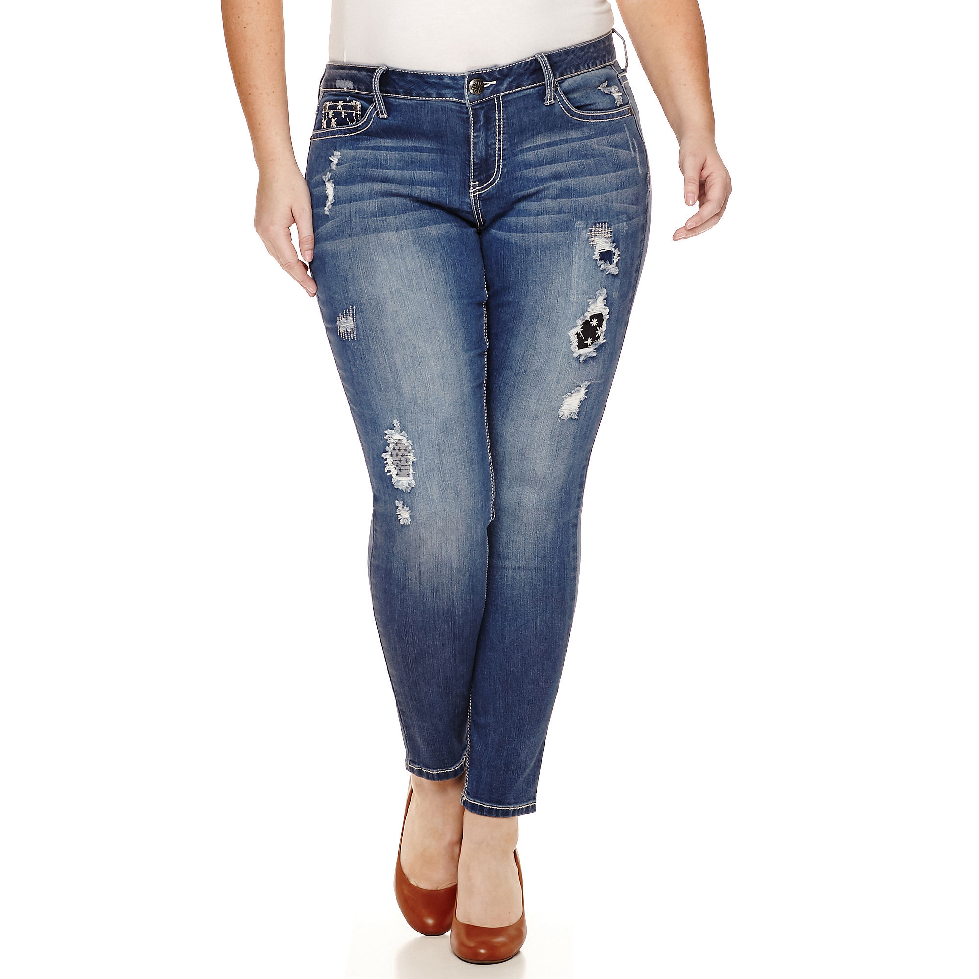 Love Indigo Patch Denim Skinny Jeans - Plus