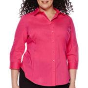 Worthington® 3/4-Sleeve Button-Front Shirt - Plus