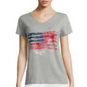 St. John's Bay® V-Neck Americana Graphic T-Shirt