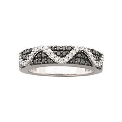 1/2 CT. T.W. Black & White Diamond Ring Sterling Silver