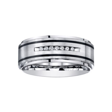 jcpenney.com |  Mens Channel-Set Diamond Ring in Stainless Steel