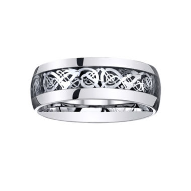 jcpenney.com |  Mens Comfort-Fit Filigree Ring in Stainless Steel
