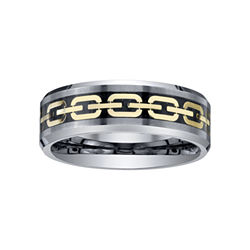 BEST VALUE! Men's Comfort-Fit Tungsten Chain-Inlay Ring
