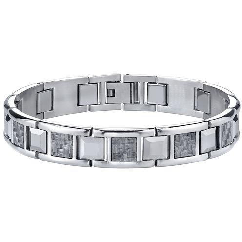 Men's Stainless Steel & Carbon Fiber Bracelet