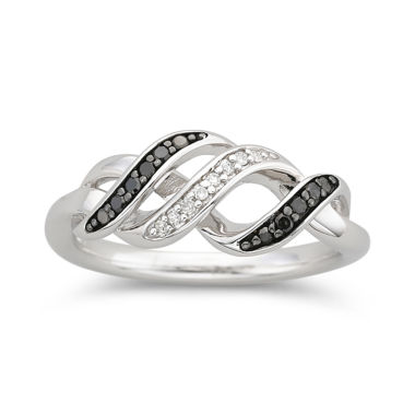 jcpenney.com | 1/10 CT. T.W. White & Color-Enhanced Black Diamond Swirl Ring