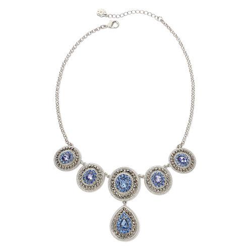 Monet® Blue Glass & Marcasite Drama Necklace