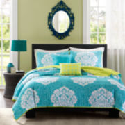 Intelligent Design Liliana Damask Quilt Set