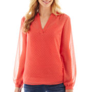 a.n.a® Long-Sleeve Embellished Polka Dot Blouse - Tall