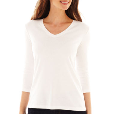 jcpenney.com | St. John's Bay® 3/4-Sleeve Fitted Essential V-Neck T-Shirt