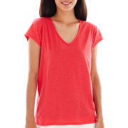a.n.a® Short-Sleeve V-Neck Shirred-Back Tee - Petite