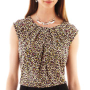 Liz Claiborne Short-Sleeve Pleat-Neck Print Top - Tall