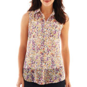 Liz Claiborne® Sleeveless Button-Front Blouse with Cami