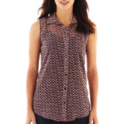 Liz Claiborne Sleeveless Button-Front Blouse with Cami