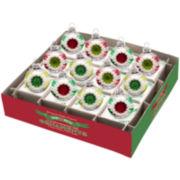 "Shiny Brite Holiday Splendor Set of 12 1¾"" Decorated Reflector Ornaments"