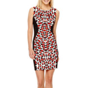 Bisou Bisou® Sleeveless Animal Print Scuba Sheath Dress