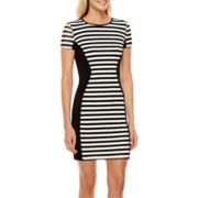 Bisou Bisou® Short-Sleeve Striped Panel Sheath Dress