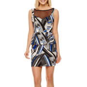 Bisou Bisou® Sleeveless Printed Peplum Illusion Dress