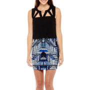 Bisou Bisou® Sleeveless Printed Blouson Dress with Cut-out