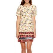 19 Cooper Short-Sleeve Border Print T-Shirt Dress