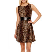 Alyx® Sleeveless Animal Print Fit-and-Flare Dress
