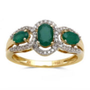 Genuine Emerald and 1/5 CT. T.W. Diamond 10K Yellow Gold 3-Stone Ring